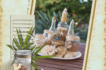 Καλοκαιρινή σύνθεση με γυάλινα βάζα και μπουκάλια!